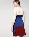 Tri-Colored Dress With Waist Tie