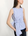 Asymmetric Gathered Waist Tie Top