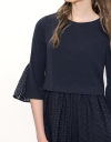 Flare Dress With Contrast Lace Skirt & Sleeves
