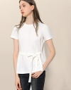 Contrast Woven Back Top With Waist Tie