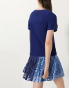 T-Shirt Dress With Contrast Pleated Lace Hem