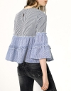 Contrast Cotton Striped Gathered Top