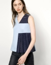 Contrast Eyelet Lace Pleated Panel Top