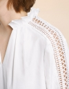 Shirt With Lace Trim Cut Out Sleeves