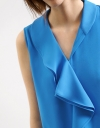 Ruffled Scarf Neck Crepe Top