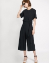 Crepe Jumpsuit With Pleated Waist