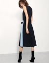 Belted Dress With Contrast Stripe Skirt