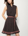 Belted Dress In Geometric Print