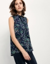 Tie-neck Top In Ditsy Floral Print