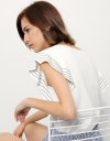 Cotton Top With Embroidered Frill Sleeves