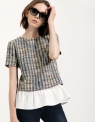 Tweed Top With Contrast Ruffle Hem