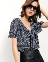 Floral Print Top With Tie-front Detail