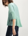 Asymmetric Top With Pleated Sleeves