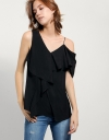 Asymmetric Draped Top With Shoulder Cut-out