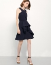 Halterneck Shift Dress With Ruffled Skirt