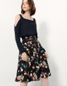 Pleated A-line Skirt In Floral Print