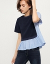 Top With Asymmetric Contrast Panel &Ruffled Hem