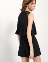 Layered Romper With Sheer Lace Yoke Panel