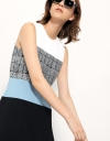 Paneled Dress With Textured Midriff