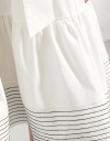 Striped Jersey & Cotton Flared Dress