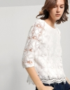 Lace Top With 3/4 Puffed Sleeves