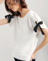 Contrast Tie Cuff Cotton Top