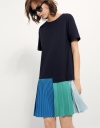 Dress With Pleated Color Blocking Hem