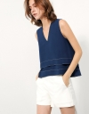 Layered Top With Contrast Top-stitch