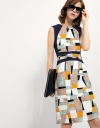 Shift Dress With Contrast Panel In Geo Print