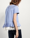 Asymmetric Top With Contrast Lace-trimmed Hem