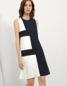 Pleated Dress With Contrast Panel