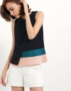 Top With Asymmetric Pleated Color Blocking Detail