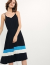 Pleated Trapeze Dress With Contrast Coloured Panel