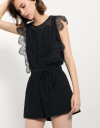 Lace Romper With Ruffles And Waist-tie