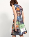 Fitted A-line Dress In Digital Print