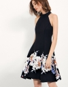 Halter-neck Dress With Layered Placement Floral Skirt