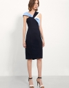 Pencil Dress With Interlaced Contrast Colour Drape