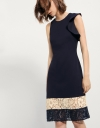 Dress With Ruffled Sleeve & Contrast Lace Hem