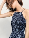 Halterneck Dress In Two-tone Lace