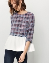 3/4 Sleeve Top In Tweed With Contrast Woven Hem