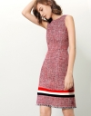 Shift Dress In Tweed With Contrast Stripe Detail