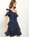 Off-shouldered Dress With Ruffles In Polka Dots