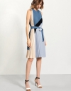 Pleated Flare Dress In Asymmetric Color Block