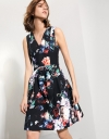 Dress With Waist Bow In Floral