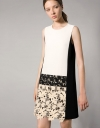 Shift Dress With Contrast Lace Panelling