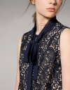 Guipure Lace Dress With Neck Bow