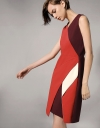 Asymmetric Color-block Dress With Overlapping Skirt