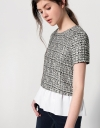 Tweed Top With Contrast Gathered Hemline
