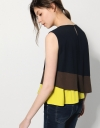 Asymmetric Color-block Top With Gathered Underlay