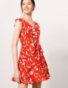 Floral Printed Cascading Ruffles Dress
